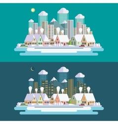 Flat design urban winter landscape vector