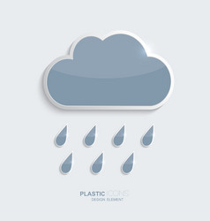 Plastic icon clouds with rain drops vector