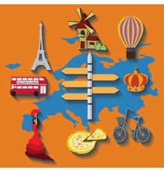 Europe flat travel vector