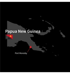 Detailed map of papua new guinea and capital city vector