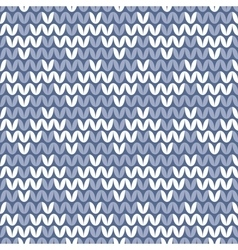 Tile blue and white knitting pattern vector