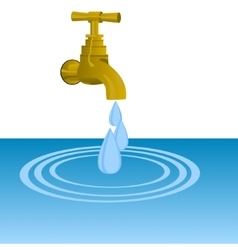 Faucet and water drops vector