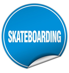 Skateboarding round blue sticker isolated on white vector
