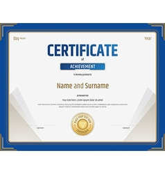 Certificate of achievement template in blue border vector