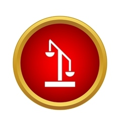 Scale of justice icon in simple style vector
