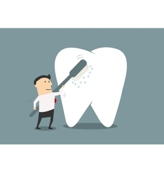 Businessman cleaning a big tooth with toothbrush vector image vector image
