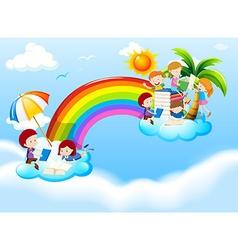 Children reading books over the rainbow vector image