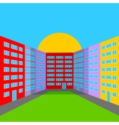 City yard in the morning vector