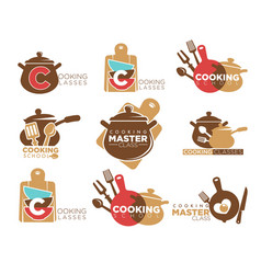 Cooking classes promotional emblems set with vector