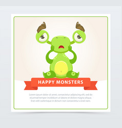 cute sad green monster sitting on the floor happy vector image vector image