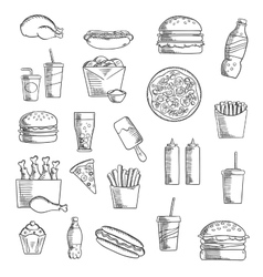 Fast and takeaway food sketched icons vector