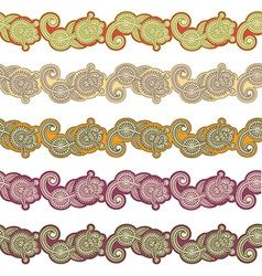 five colored ornamental seamless pattern stripe vector image vector image