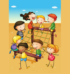 happy children playing in playground vector image vector image