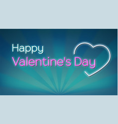 happy valentines s day neon text on background vector image