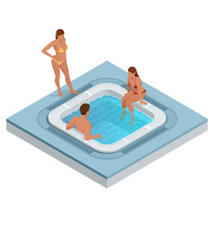 Isometric jacuzzi with swirling water isolated on vector
