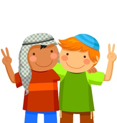 Kids making peace vector