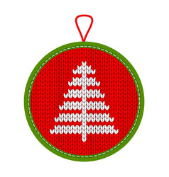 Knitted christmas decoration tree vector