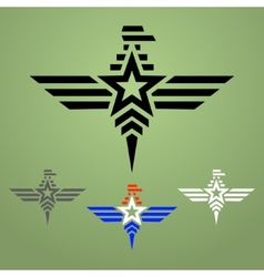 Military style eagle emblem set vector