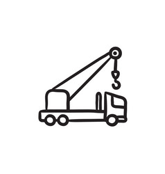 Mobile crane sketch icon vector