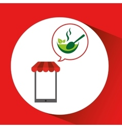 Mobile phone shopping organic food health vector
