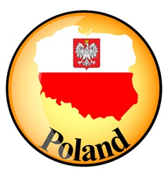 Orange button with the image maps of poland vector