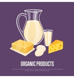 Organic products banner with dairy composition vector