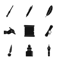 pen type icon set simple style vector image vector image
