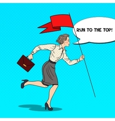 Pop art business woman running with flag vector