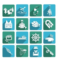 Set of fishing icons vector