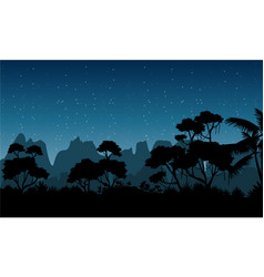 silhouette of rain forest at the night scenery vector image