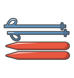 Ski and sticks icon cartoon style vector