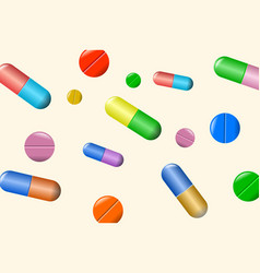 tablets and pills set isolated on beige vector image vector image