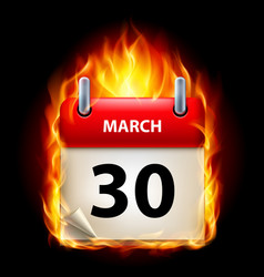 Thirtieth march in calendar burning icon on black vector