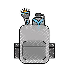 travel safari backpack with flashlight and bottle vector image