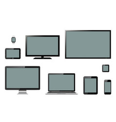 various modern electronic gadgets on isolated vector image