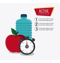 Water bottle appel chronometer healthy lifestyle vector