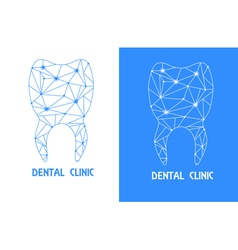 tooth polygon outline logo vector image