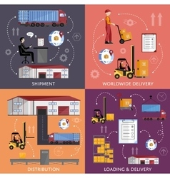 Process of shipping and distribution goods vector