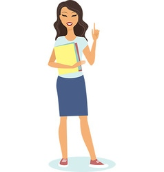 girl is pointing up vector image