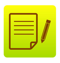 paper and pencil sign  brown icon at green vector image