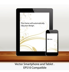 Tablet computer and mobile phone in white vector
