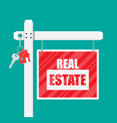 Wooden placard real estate sign vector