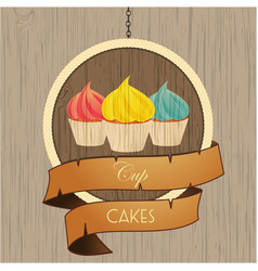 Cupcakes trio on wooden sign with rope details vector