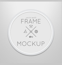 template of round frame with poster vector image