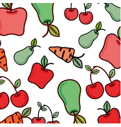 Delicious healthy fruits and vegetables organic vector