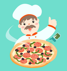 Cartoon character chef with hot pizza vector
