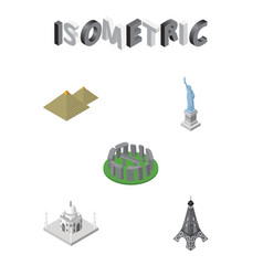 Isometric cities set of india mosque egypt vector