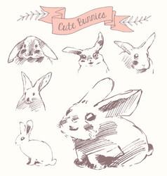 Set cute bunnies easter rabbits draw sketch vector