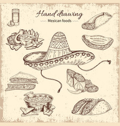 mexican food hand drawn design vector image