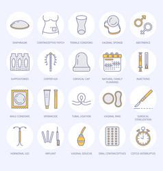 Contraceptive methods line icons birth control vector